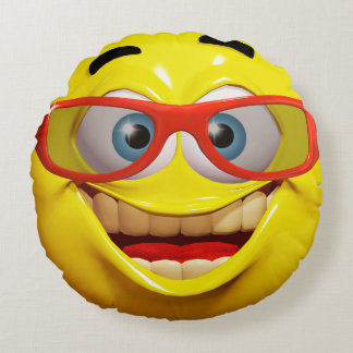 Funny 3d smiley emoticon round cushion