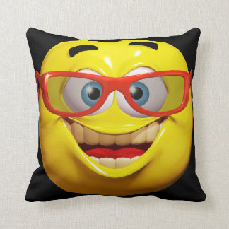 Funny 3d smiley emoticon with peace sign throw pillow