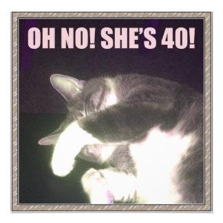 Funny 40th Birthday Cat Custom Invites