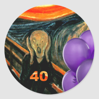 Funny 40th Birthday Round Sticker