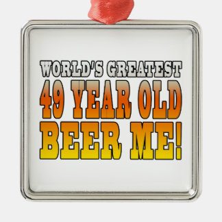 Funny 49th Birthdays : Worlds Greatest 49 Year Old Silver-Colored Square Decoration