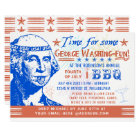 Funny 4th of July BBQ Barbecue Party   Washington Card