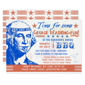 Funny 4th of July BBQ Barbecue Party | Washington Card