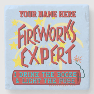 Funny 4th of July Independence Fireworks Expert Stone Coaster