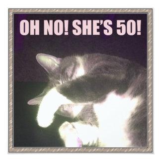 Funny 50th Birthday (Cat) 13 Cm X 13 Cm Square Invitation Card