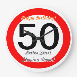 Funny 50th Birthday Joke 50 Road Sign Speed Limit Large Clock