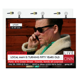 Funny 50th Birthday Men's Breaking News TV Graphic Card