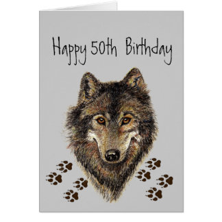 Funny, 50th Fifty Birthday Wolf, Wolves Card