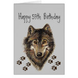 Funny, 50th Fifty Nine, Birthday Wolf, Wolves Greeting Card