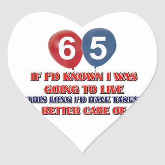 Funny 65 year old birthday heart sticker