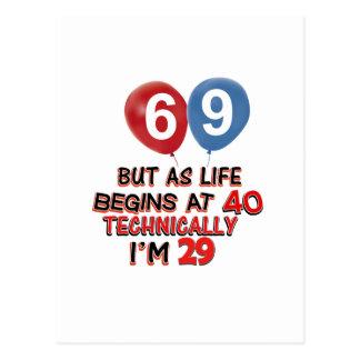 funny 69th birthday designs postcard