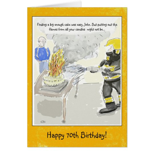 Funny 70th Birthday Card For Men: Candles
