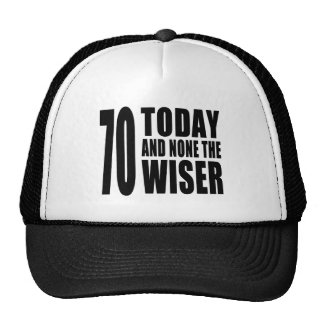 Funny 70th Birthdays : 70 Today and None the Wiser Cap