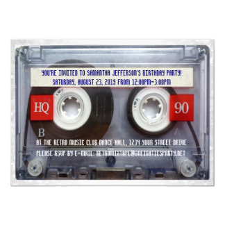 Funny 80s Cassette Mixtape Party 11 Cm X 16 Cm Invitation Card