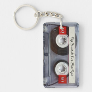 Funny 80's Cassette Tape, Personalized Double-Sided Rectangular Acrylic Key Ring