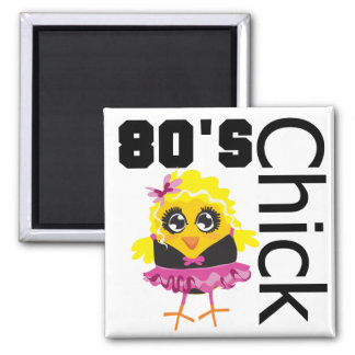 Funny 80s Chick Square Magnet