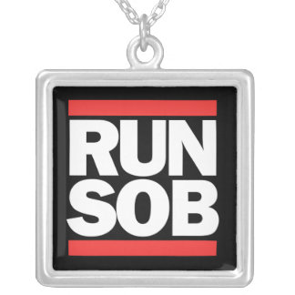 Funny 80s Parody Square Pendant Necklace