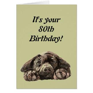 Funny 80th Birthday Customize Labrador Retriever Greeting Card