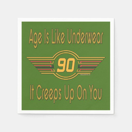 Funny 90th Birthday Gifts. Age Is Like Underwear Disposable Napkin