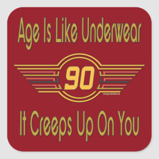 Funny 90th Birthday Gifts. Age is like underwear Square Stickers