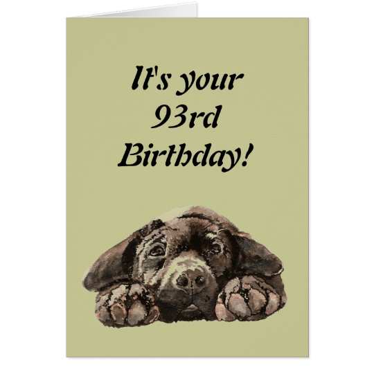 Funny 93rd Birthday Customise Labrador Retriever Card