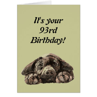 Funny 93rd Birthday Customize Labrador Retriever Card