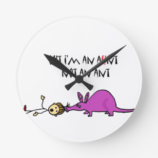 Funny Aardvark Eating Aunt not ant cartoon Round Clock
