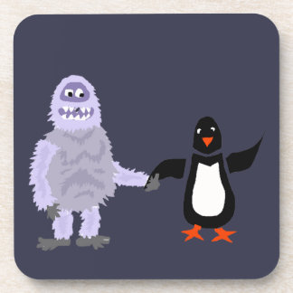 Funny Abominable Snowman and Penguin Love Art Coaster