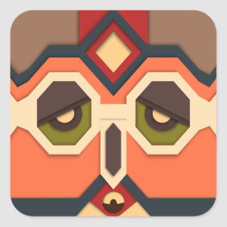 Funny abstract Art Face Square Sticker