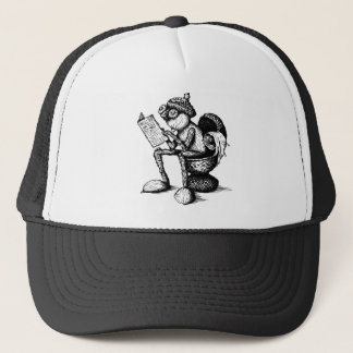 Funny acorn elf sitting on the toilet trucker hat