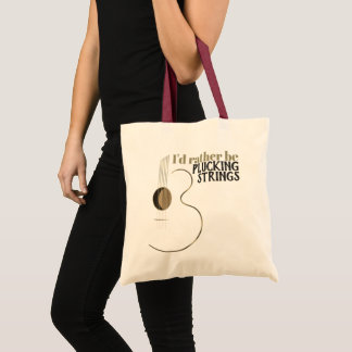 Funny Acoustic Guitar Plucking Strings Tote Bag