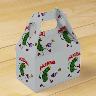 Funny Action Pickle Playing Pickleball Cartoon Favour Box