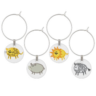 Funny African Animal Wine Charms