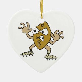 funny aggressive mean football cartoon character ceramic heart decoration