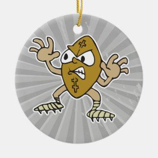 funny aggressive mean football cartoon character christmas tree ornament