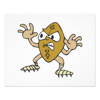 funny aggressive mean football cartoon character flyer