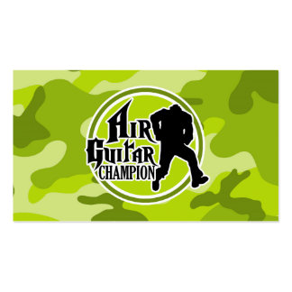 Funny Air Guitar bright green camo camouflage Business Card Templates