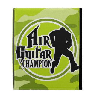 Funny Air Guitar bright green camo camouflage iPad Folio Cover