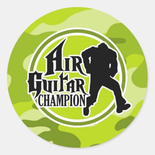 Funny Air Guitar; bright green camo, camouflage Sticker