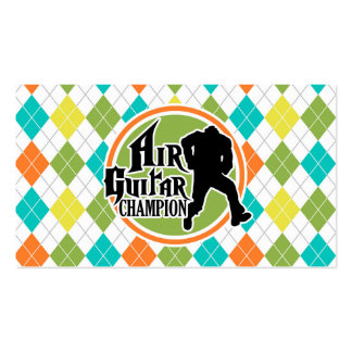 Funny Air Guitar on Colorful Argyle Pattern Business Card Templates
