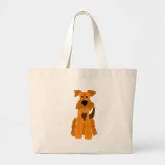 Funny Airedale Terrier Dog Art Large Tote Bag