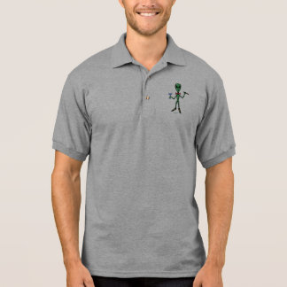Funny alien dandy cartoon art cool polo shirt