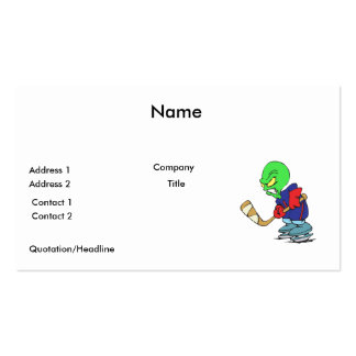 funny alien ice hockey player business cards