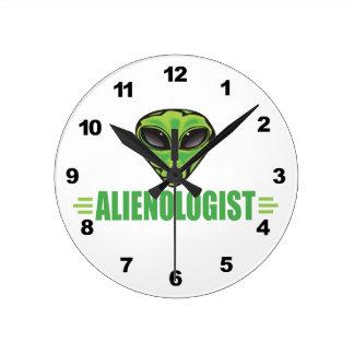 Funny Alien Lover Round Clock