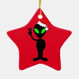 funny alien Santa Ceramic Star Decoration
