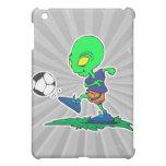 funny alien soccer player kicking ball