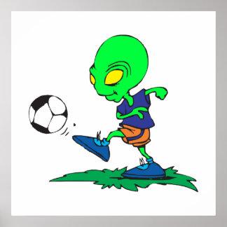 funny alien soccer player kicking ball poster