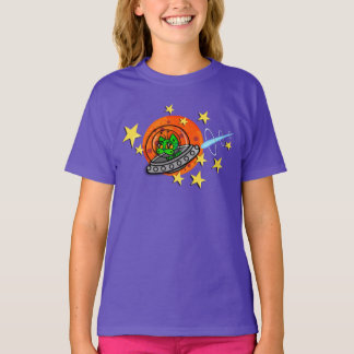 FUNNY ALIEN SPACE KITTY CAT T-SHIRT