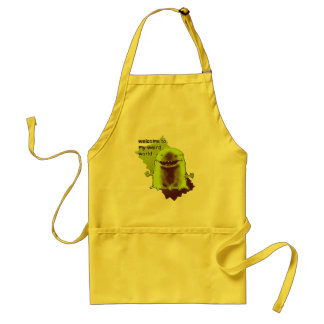 funny alien welcome to weird world cartoon standard apron