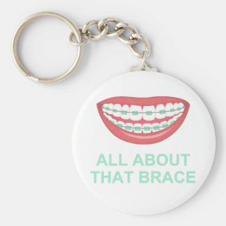 Funny All About the Brace Spoof Basic Round Button Key Ring
